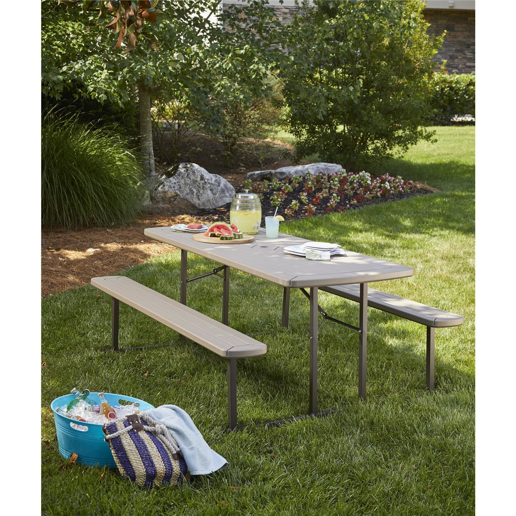 COSCO 6 ft. Folding Blow Mold Picnic Table, Gray Wood Grain with Brown Legs by Cosco