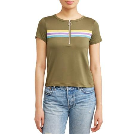 - Juniors' Retro Striped Zip Front Short Sleeve T-Shirt