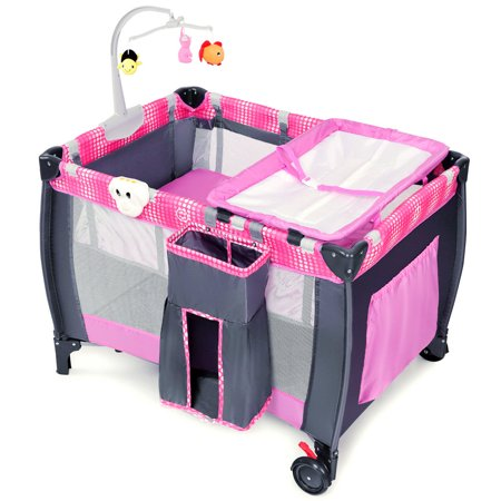 Costway Foldable Travel Playard with Bassinet, Pink