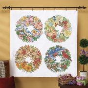 Herrschners®  Seasonal Wreaths Lap Quilt Top Kit Stamped Cross-Stitch Kit