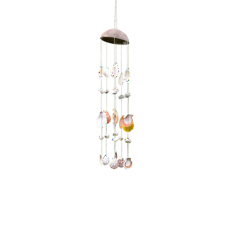 Mixed Seashells Beach Wind Chime with Coconut Hat 12