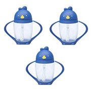Lollacup Infant And Toddler Straw Cup, 3 Pack - Blue/Blue/Blue