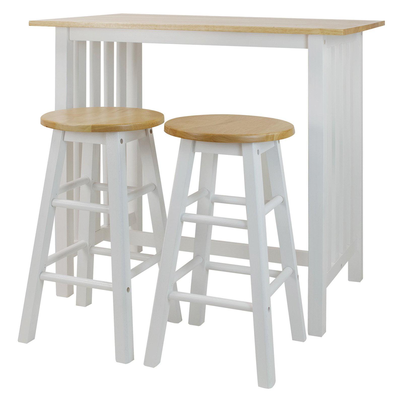 White Wooden Kitchen Tall Table Stools Set Farm Style