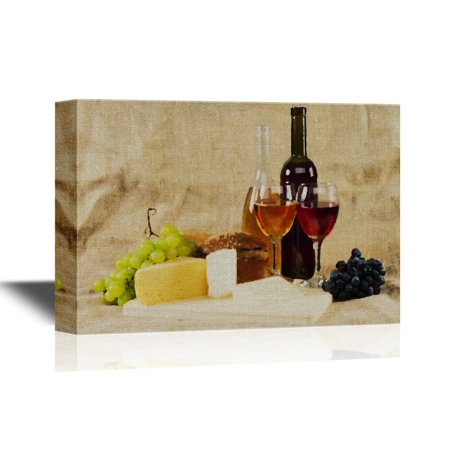 wall26 Canvas Wall Art - Still Life with Wine and Grapes on Vintage Background - Gallery Wrap Modern Home Decor | Ready to Hang - 24x36 inches ()