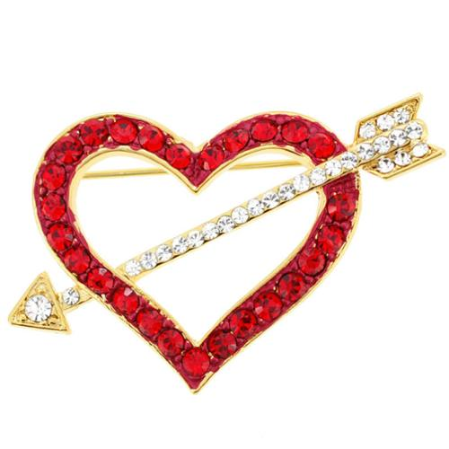 Fantasyard Goldplated Metal Red Heart Austrian Crystal Pin Brooch