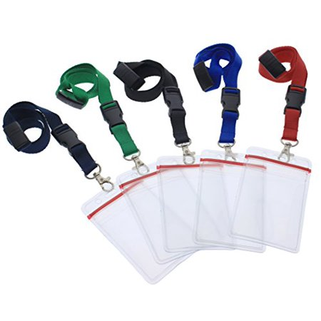 5 Pack Premium Lanyards with Detachable Resealable ID Badge Holder by Specialist ID (Assorted -