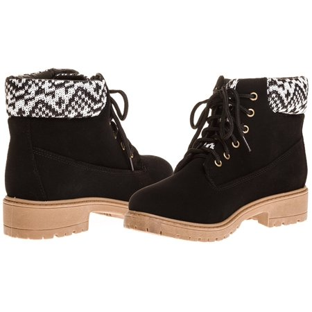 Sara Z Ladies Nubuck Boots with Sweater Collar (Black), Size 9 (Nubuck Leather Safety Boots)