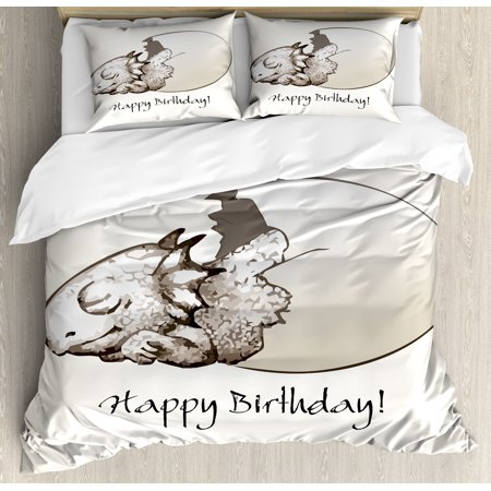 Dinosaur Queen Size Duvet Cover Set Happy Birthday Theme