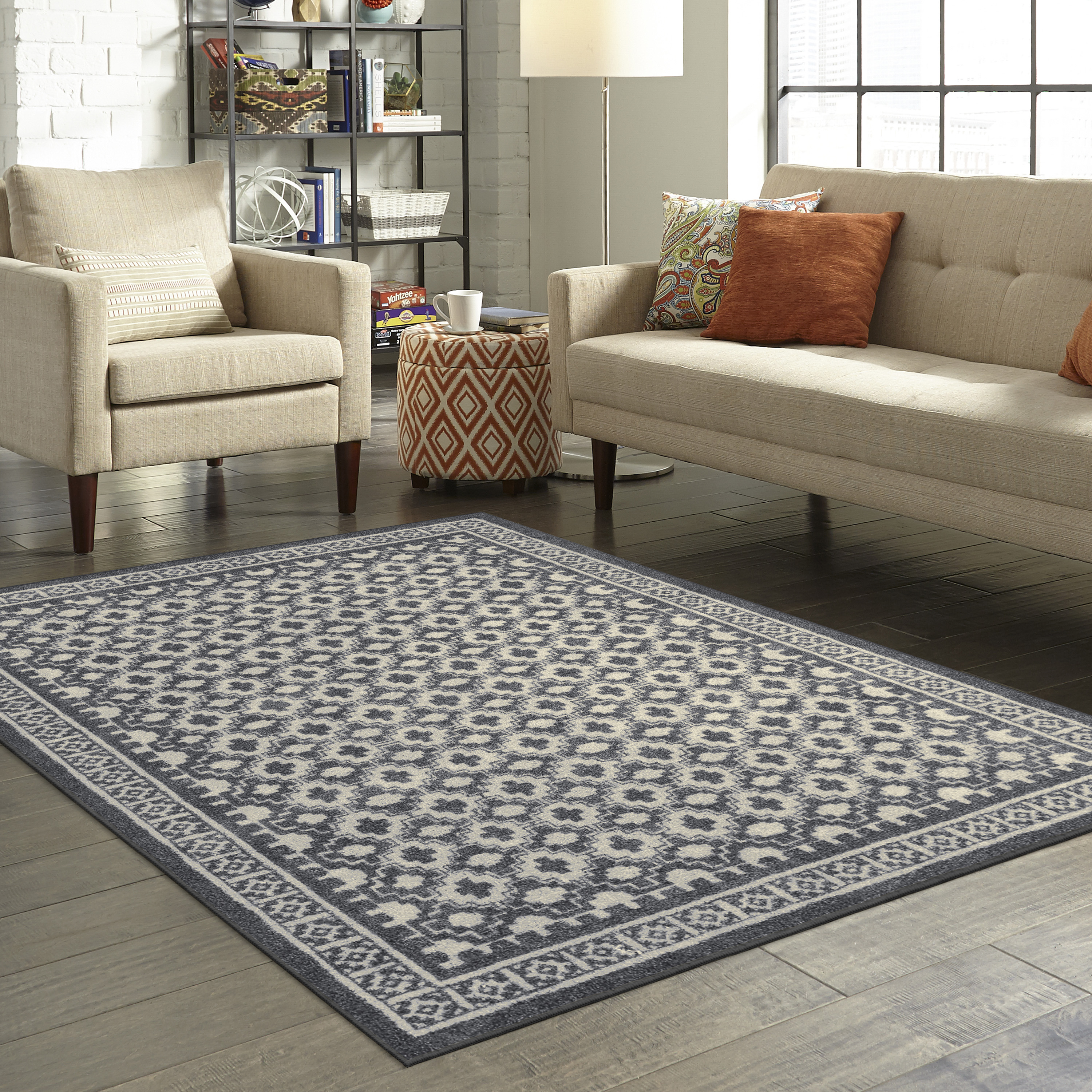 Mainstays Farmhouse Textured Print Area Rug or Runner