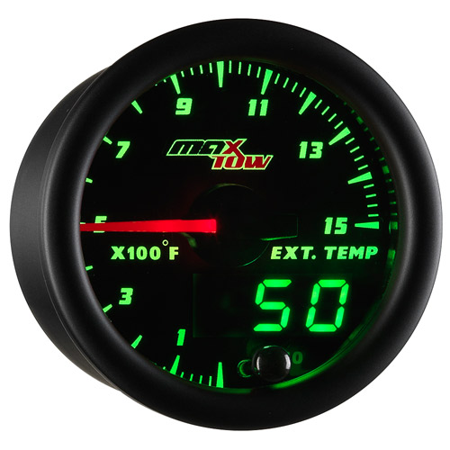 MaxTow Black and Green 1500 Exhaust Gas Temperature EGT Pyrometer Gauge