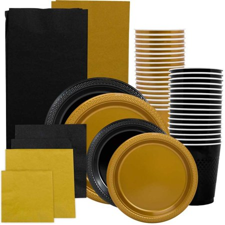 Graduation Plates And Napkins (JAM Paper Party Supply Assortment, Black & Gold Grad Pack, Plates (2 Sizes), Napkins (2 Sizes), Cups & Tablecloths,)