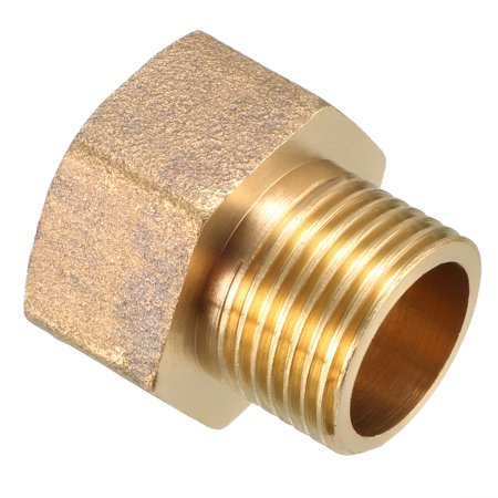 Brass Pipe Fitting, Adapter, 3/8 PT Male x 1/2 PT Female Coupling - image 2 of 4