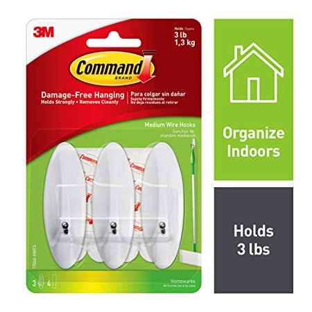 Command 17068-HWES 051141598758 Medium Wire, 3 Hooks, 4 Strips, 3 Hooks, White, 3 Hooks - image 4 of 4
