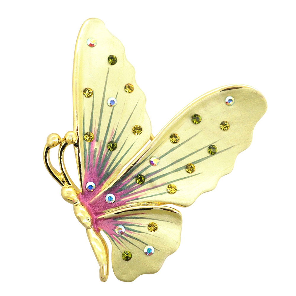 Yellow Butterfly Pin Brooch And Pendant by Yellow-Gold Brooches