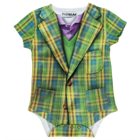 Faux Real - Plaid Suit Costume Baby One Piece (Real Pimp Suits)
