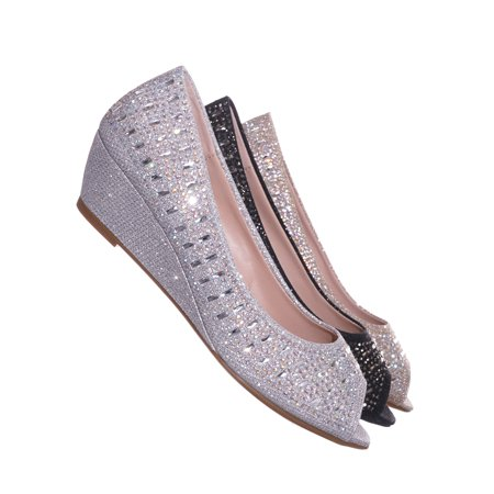 Fisher1 by Forever Link, Rhinestone Crystal Low Wedge Pump - Women Peep Toe Shinny Diamond Shoe Black Leather Peep Toe
