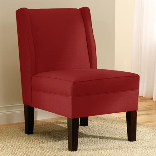 skyline furniture wingback chair in linen antique red