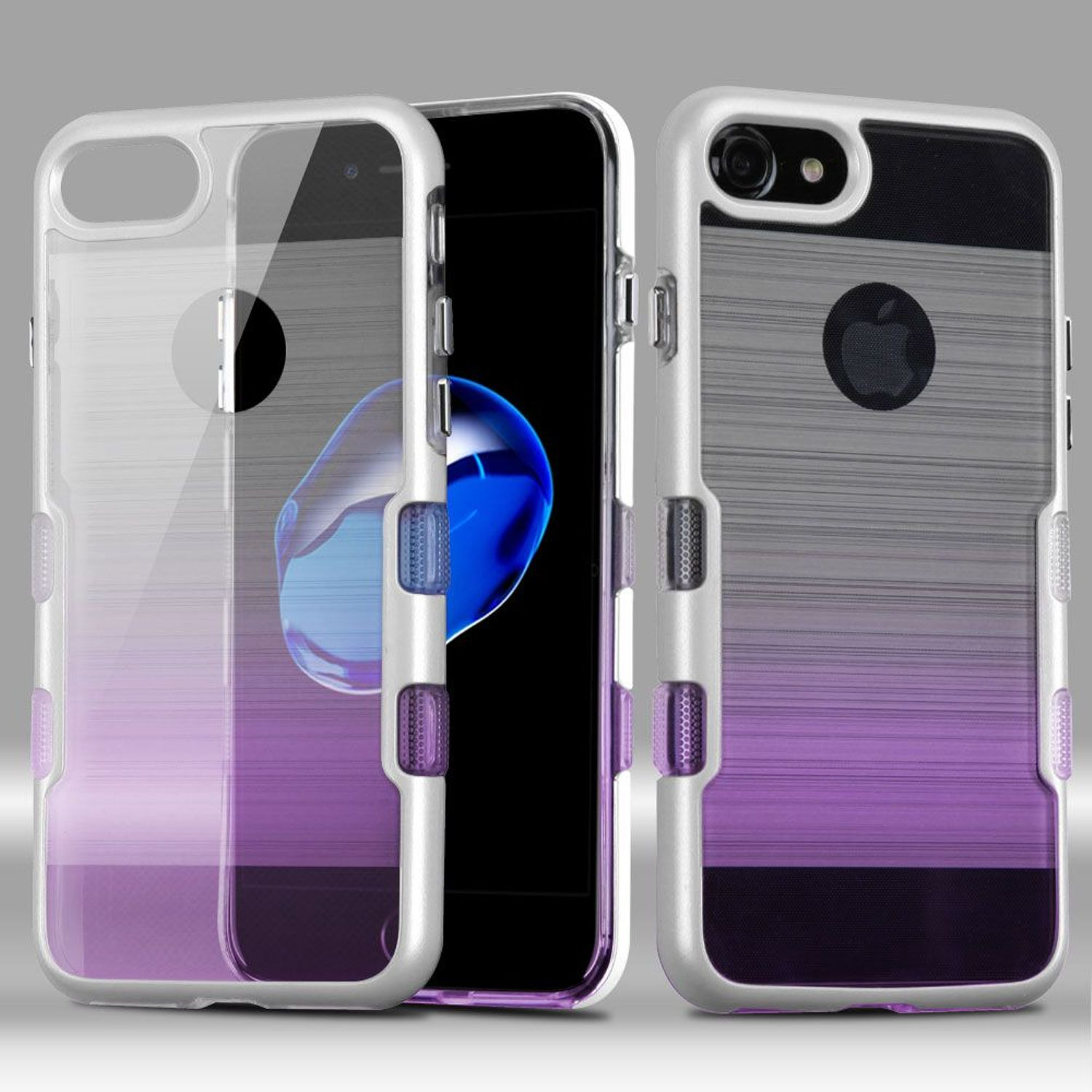 Insten Tuff Dual Layer [Shock Absorbing] Hybrid Brushed Hard Plastic/Soft TPU Rubber Case Cover For Apple iPhone 8 / iPhone 7, Purple/Silver