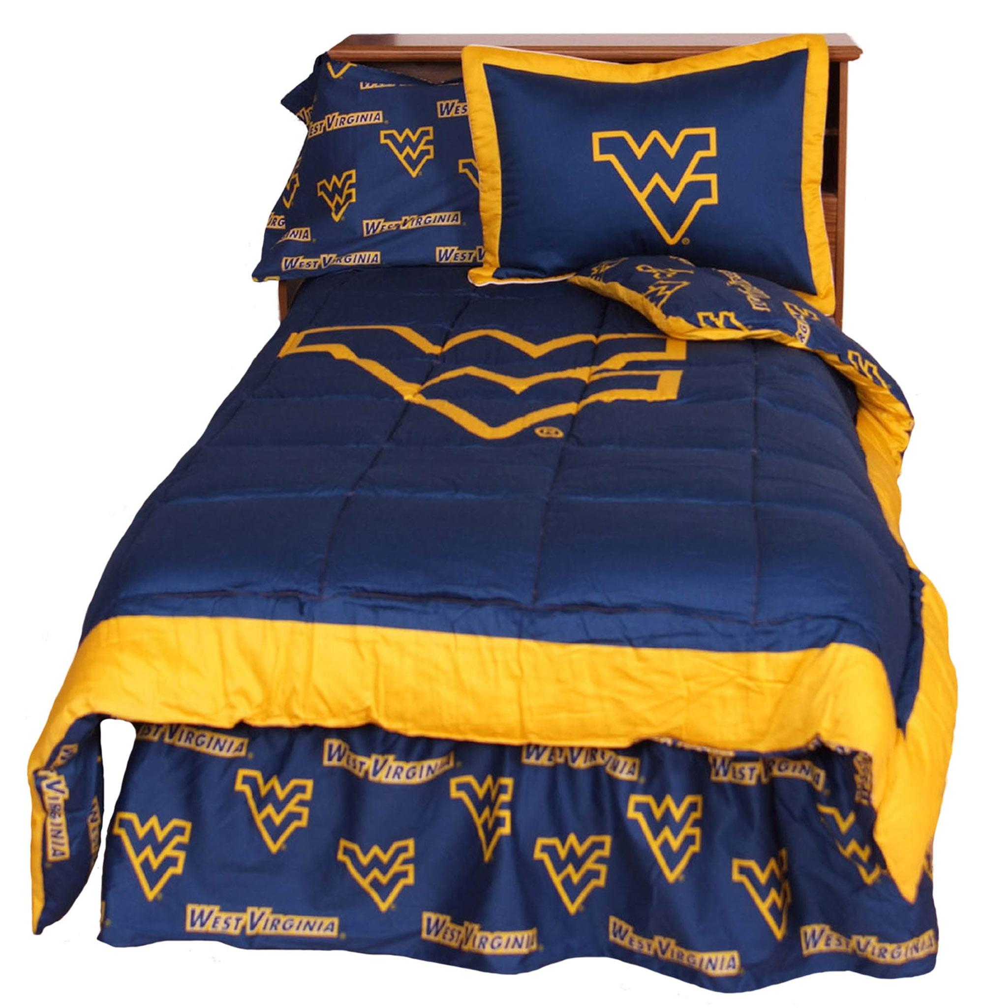 West Virginia Mountaineers 2 Pc Comforter Set, 1 Comforter, 1 Sham, Twin