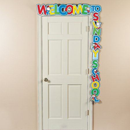 Fun Express - Welcome To Sunday School Door Banner - Educational - Classroom Decorations - Classroom Decor - 1 Piece](February Classroom Door Decoration Ideas)