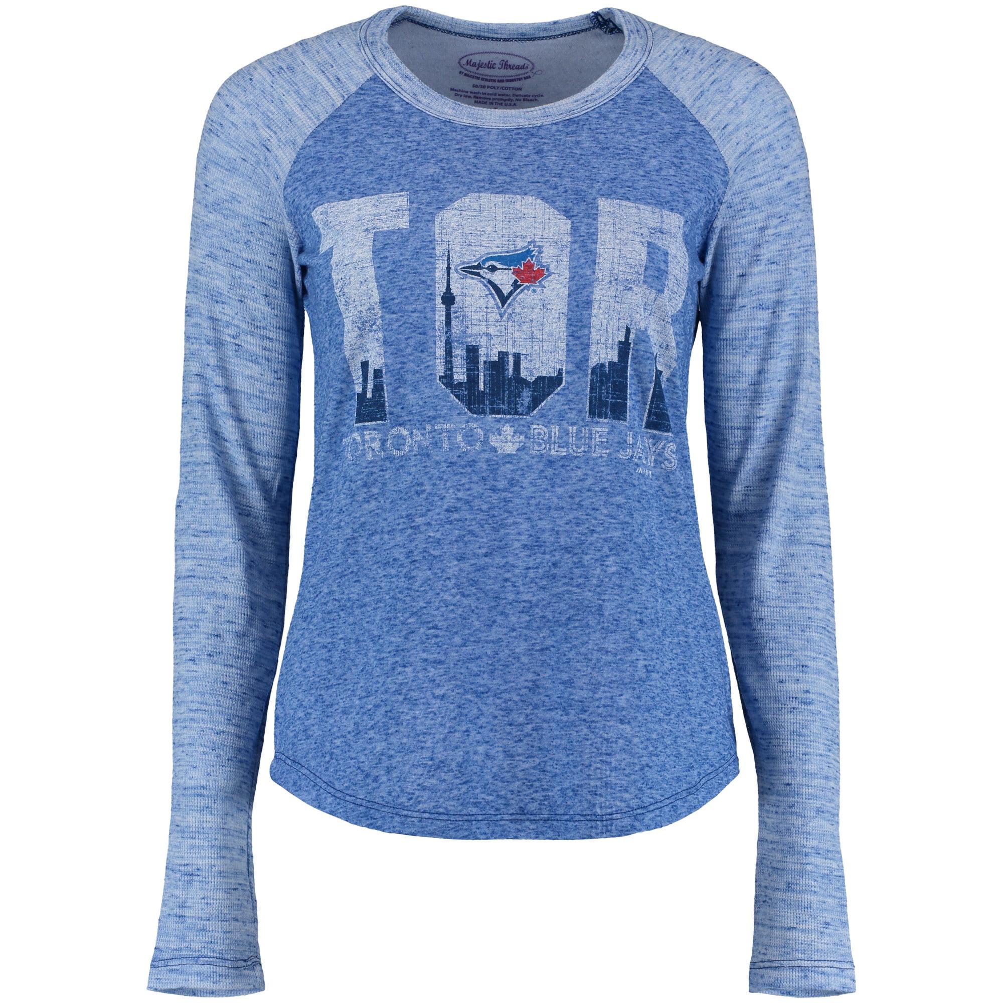 Toronto Blue Jays Majestic Threads Women's Random Phrase Three-Quarter Sleeve T-Shirt - Heathered Royal