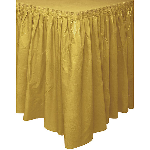 Plastic Table Skirt, 14 ft, Gold, 1ct