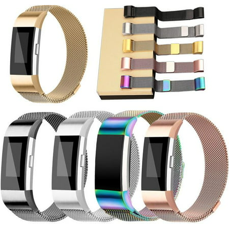 Eta Watch Parts - Black Stainless Milanese Magnetic Loop Band Strap For FitBit Charge 2 Watch Wristband