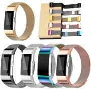 Black Stainless Milanese Magnetic Loop Band Strap For FitBit Charge 2 Watch Wristband