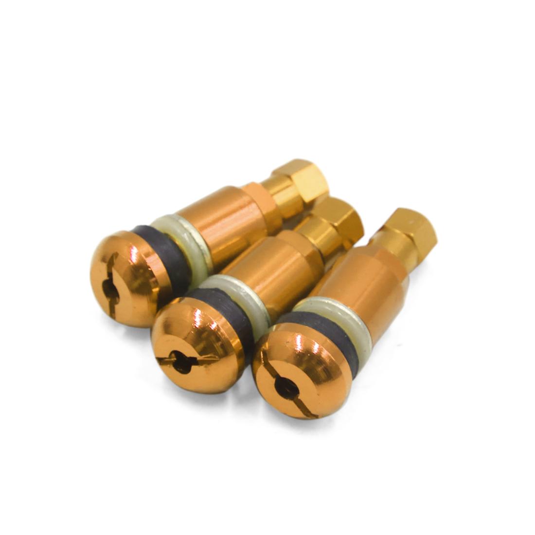 3pcs Gold Tone 45mm Length Aluminum Alloy Car Tubeless Tyre Tire Valve Stem