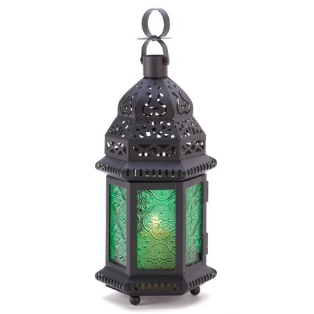 Emerald Glass Moroccan Candle Lantern - 10 inches ()