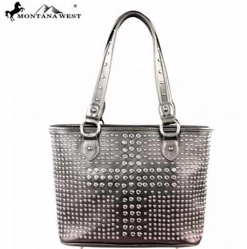 Handbag-Bling w/Cross-Pewter-Large-Double Handle
