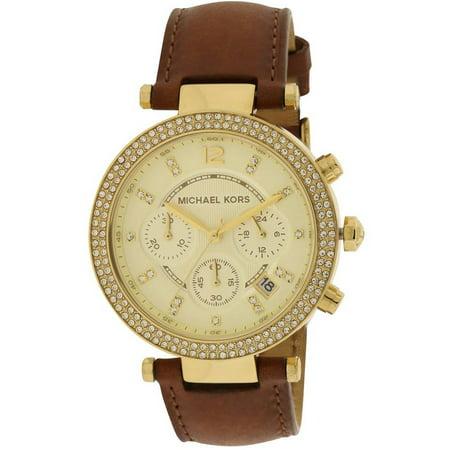 Parker Chocolate Leather Chronograph Women's Watch, (Michael Kors Chocolate)