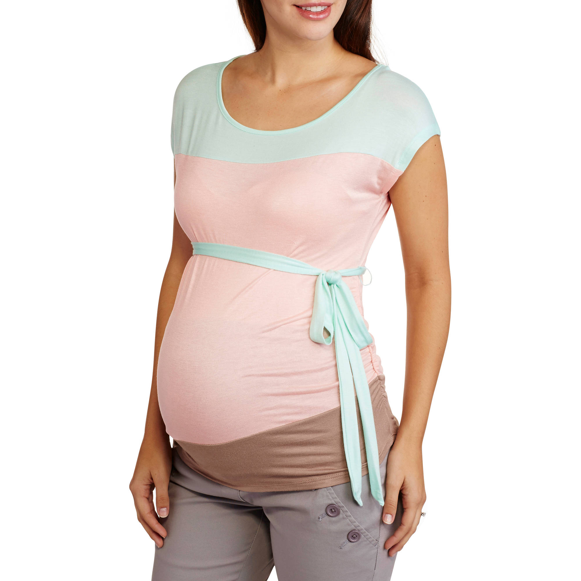 Planet Motherhood Maternity Colorblock Tie Waist Top