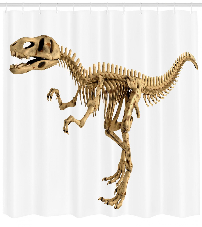 Dinosaur Shower Curtain Fossil Dino Skeleton Bones
