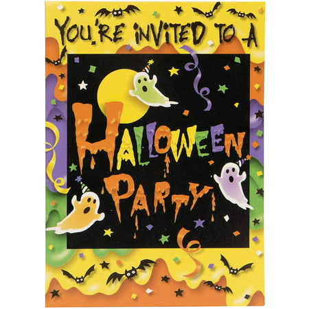Party Ghost Halloween Invitations, 8 Count - Halloween Costume Party Invitations Printable