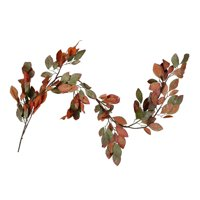 6' Orange, Green and Gold Autumn Harvest Thanksgiving Glitter Leaf Garland