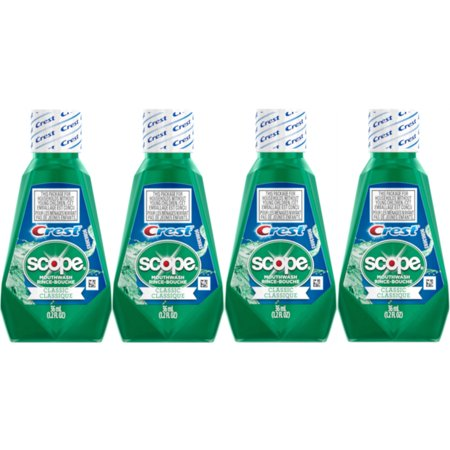 4 Pack Scope Mouthwash Classic Travel Size 36 Ml / 1.2 Fl -
