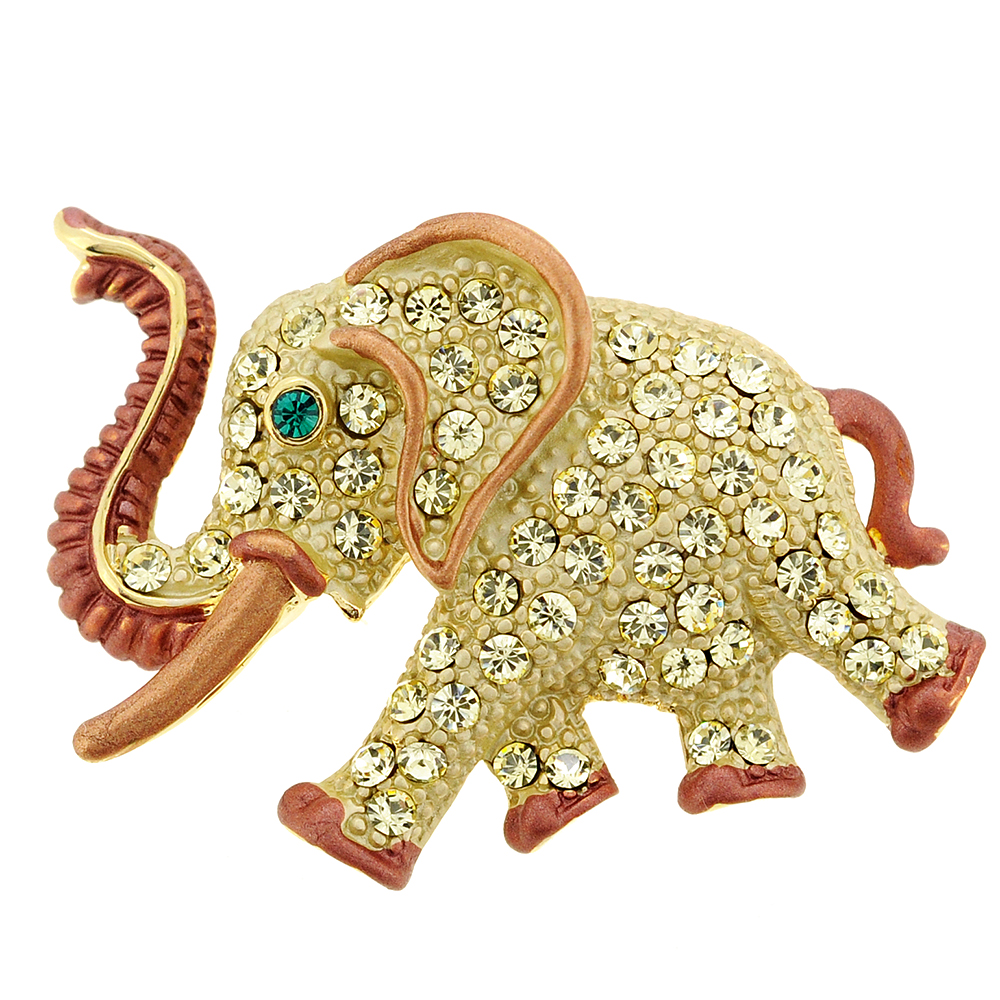Gold Elephant Swarovski Crystal Animal Pin Brooch by