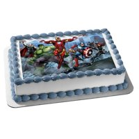 Marvel Avengers Thor The Hulk Iron Man Captain America Black Widow Nick Fury Hawkeye Edible Cake Topper Image