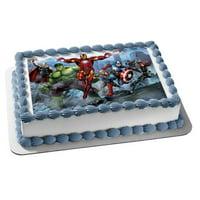 Marvel Avengers Thor The Hulk Iron Man Captain America Black Widow Nick Fury Hawkeye Edible Cake Topper Image
