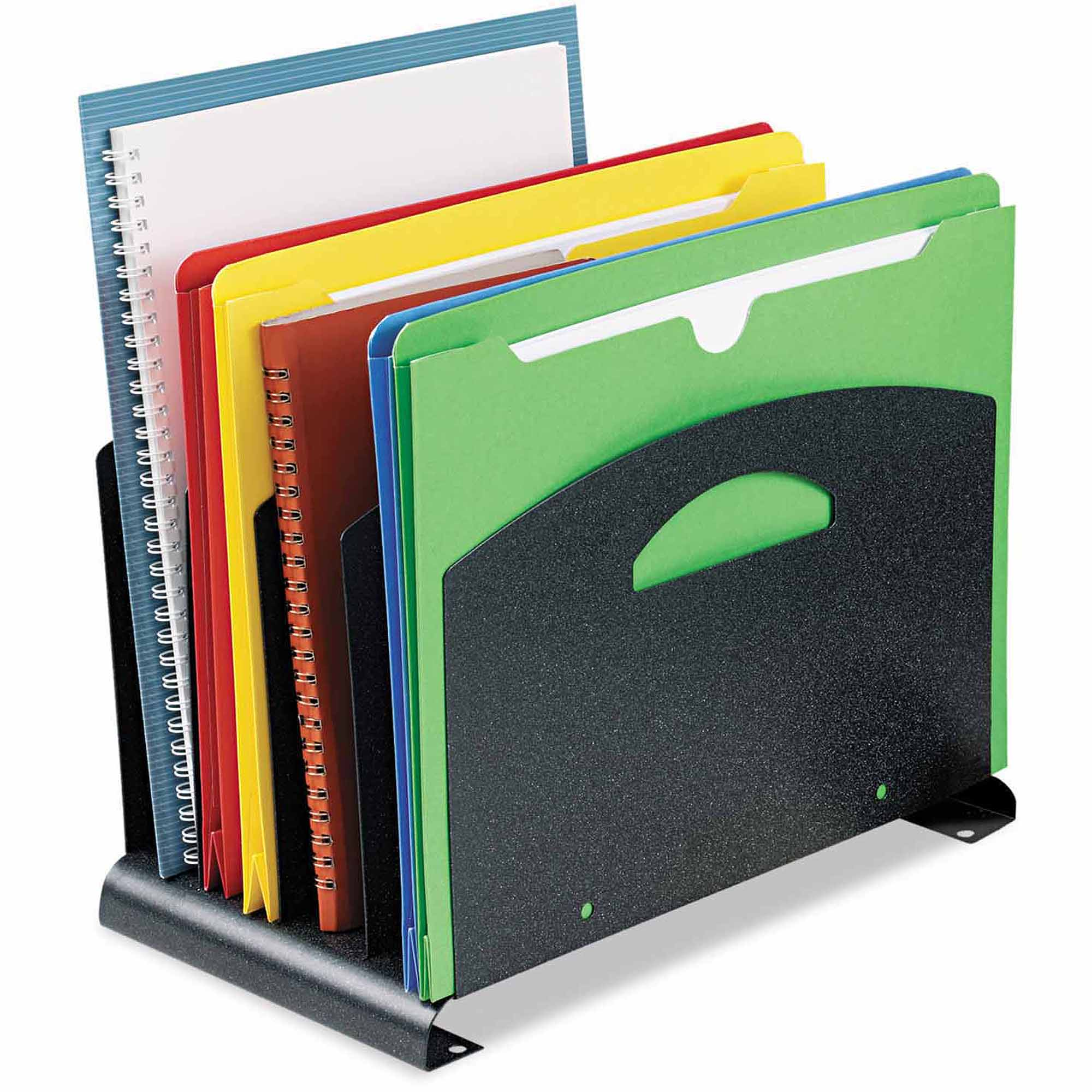 "SteelMaster Contemporary Organizer with Handle, 4 Sections, Steel, 7.25"" x 12"" x 7.5"", Granite"