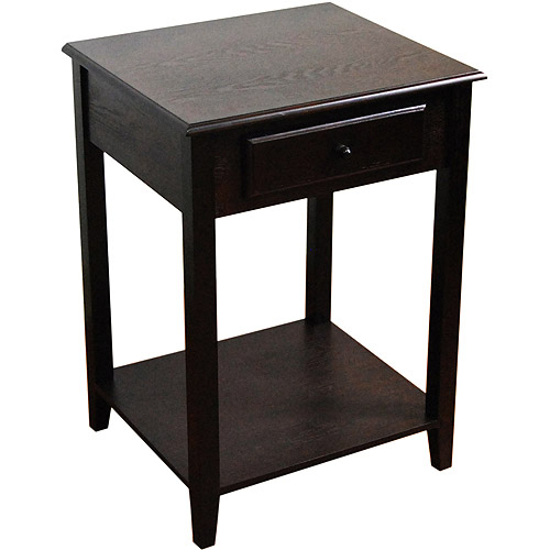 End Table With Drawer, Espresso