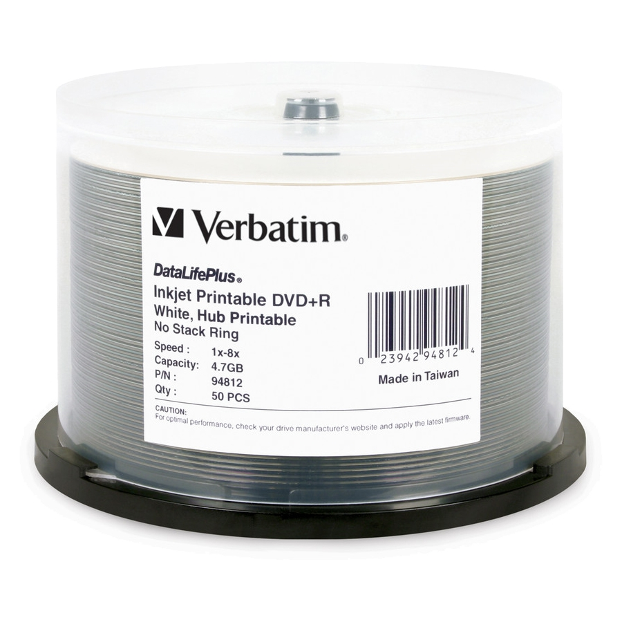 Verbatim DataLifePlus 4.7GB 8X DVD+R White Inkjet Printable, Hub Printable 50 Packs Cake Box Disc