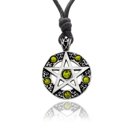 Peridot Green Round Pentagram Silver Pewter Charm Necklace Pendant Jewelry With Cotton Cord Pentagram Silver Pewter Pendant