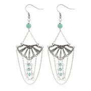 Geometric Shape Dangle Earrings with Turquoise Stones (Antique Silvertone)