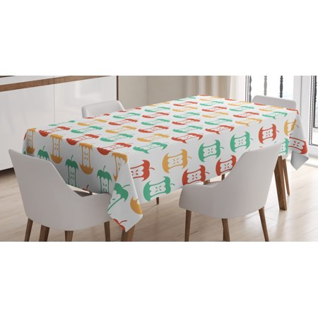 Apple Tablecloth, Apple Core Pattern in Retro Colors Eaten Food Fruit Organic, Rectangular Table Cover for Dining Room Kitchen, 52 X 70 Inches, Dark Coral Pale Orange Sea Green, by (Ford Retro)