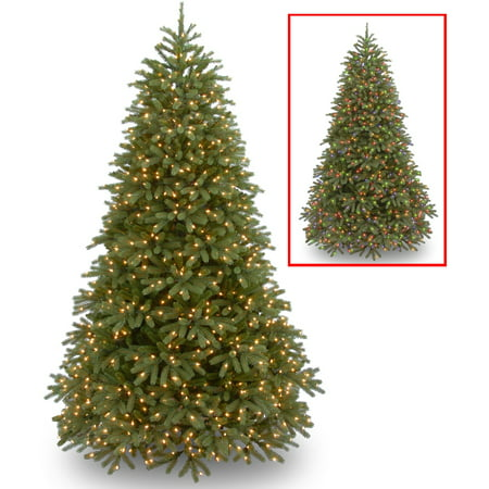 National Tree Pre-Lit 7-1/2 Feel Real Jersey Frasier Fir Medium Hinged Artificial Christmas Tree with 1000 Low Voltage Dual LED Lights and Plastic Caps