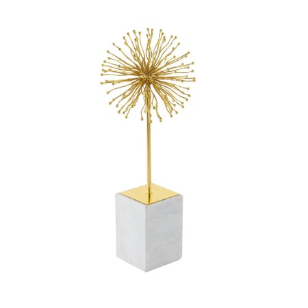 Italian Marble Sculpture (Decmode Modern 19 inch gold iron starburst sculpture with white marble base,)