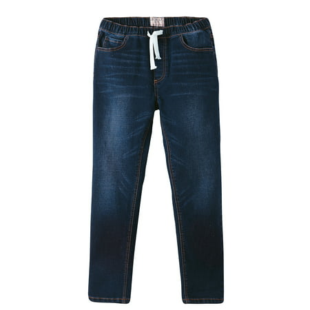 LEO&LILY Boys Kids Elastic Waist Regular Fit Stretch Denim Jeans- Blue (Blue,5)