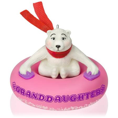 Hallmark Keepsake Ornament Granddaughter Polar Bear in Snow Tube